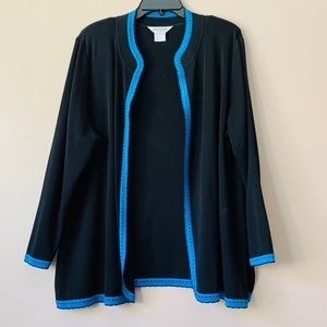 Misook Open Front Black w/ Blue Trim Jacket 2X